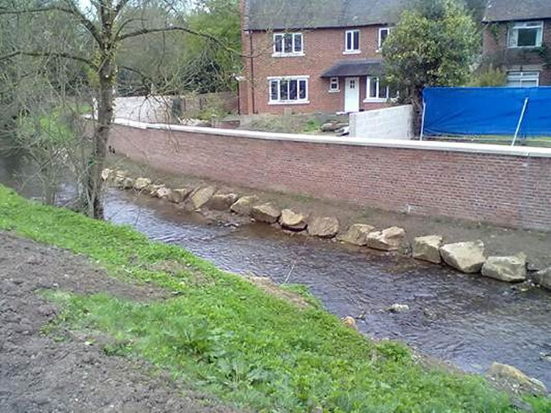 Ashbourne Flood Aleviation Scheme - completed flood wall